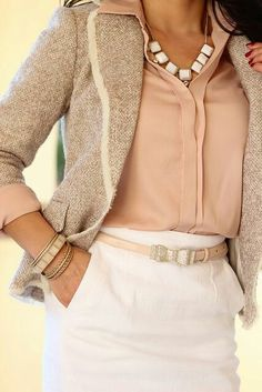 Statement Necklace with Dressy Shirt and Vintage-Inspired Blazer