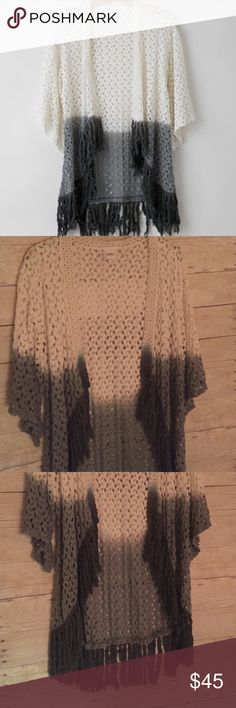 DayTrip Ombré Lace Cardigan Daytrip Crochet like- Lacey Cardigan. Ombré White, light grey, dark grey coloring. Fringe at bottom hem. Beautiful on! Worn once and in flawless condition. Purchased at the buckle. Daytrip Sweaters Cardigans