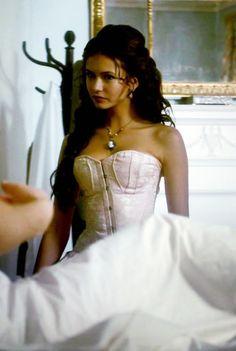 The Vampire Diaries Katharina Petrova, One Shoulder Wedding Dress, Shoulder Dress, Vampire Diaries Funny, Katherine Pierce, Nina Dobrev, Off The Shoulder, Celebrities, Wedding Dresses