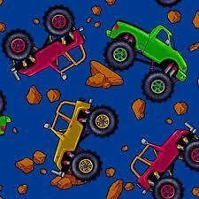 Monster Trucks ON Navy Blue NEW Cotton Quilting Fabric FQ   eBay