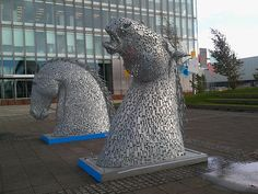 Horse sculptures outside BBC offices by River Clyde Glasgow in Scotland by Karen V Bryan, via Flickr