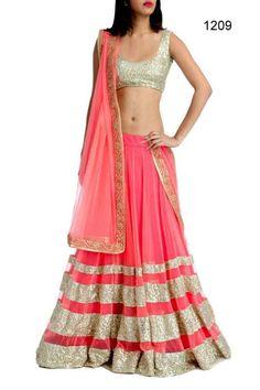 Best Lehnga | Fashion4Style Stock Sequence Work Stylish Lehnga Net Dupatta Heavy Golden Blouse  #ArpitaKhanWedding #lehnga #indiandress #fashion http://www.fashion4style.com/woman/clothing/designer-lehnga/gold-pink-seqvence-work--stylish-lehnga/pid=MTY4
