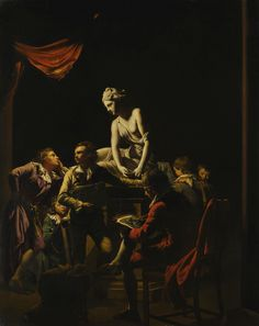 Joseph Wright of Derby, A.R.A. DERBY 1734 - 1797 AN ACADEMY BY LAMPLIGHT oil on canvas 127 x 101.5 cm.; 50 x 40 in.