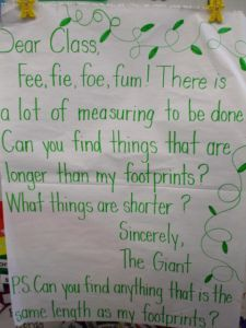 "Fun twist to make measurement fun! :) For added fun and extra practice, change the size of the writing to smaller (and messier) print from ""Baby Giant"" and change the size of the footprint... Primary Teaching, Primary Maths, Teaching Math, Preschool Math, Preschool Ideas, Teaching Ideas, Numeracy Activities, Maths Eyfs, Measurement Activities"