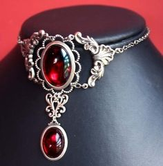 Steampunk Jewelry Bloody Ruby Red Gothic necklace...