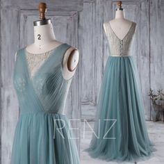 2017 Long Dusty Green Bridesmaid Dress Long A Line Wedding by RenzRags | Etsy