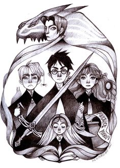 Harry Potter and the Chamber of Secrets, High Quality Satin Art Print Pencil Drawing Illustration Wall Art...… by PigandPepperArts in Melbourne, Australia
