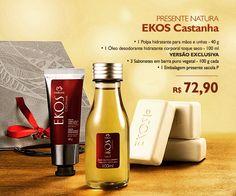 Presente Natura Ekos Castanha - Polpa Hidratante para Mãos + Óleo Desodorante Hidratante + Sabonete em Barra + Embalagem Desmontada