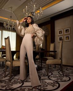 Our favorite #SS18 haute couture jumpsuit. Made using the finest hand embroidery techniques ⭐️✨  Make-up: @najlakaddour Hair: @laloge_uae Location: @rafflesdubai Photography: @mirjanakphotography  #RamiAlAli #HauteCouture