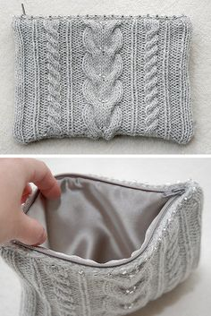 Free Knitting Pattern for Ashley Cable Clutch Bag - Cabled clutch is knit in two identical rectangles sewed together with a lining, a zipper, some beads. Designed by Celia Cheng. Knitting Patterns Free, Free Knitting, Baby Knitting, Best Leather Wallet, Leather Totes, Leather Bags, Leather Purses, Clutch Bag Pattern, Knitted Bags