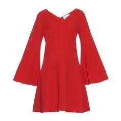Osman Lara bell-sleeve crepe dress (£357) ❤ liked on Polyvore featuring dresses, red, long v neck dress, slim fit dress, long red dress, kimono dress and crepe dress