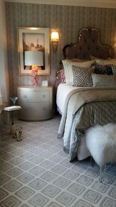 Elegant Master Suite #EWD #master bedroom #bedding #carpet #lamps #wallpaper #bedsidetables #leopard #bedroom #timestwodesign