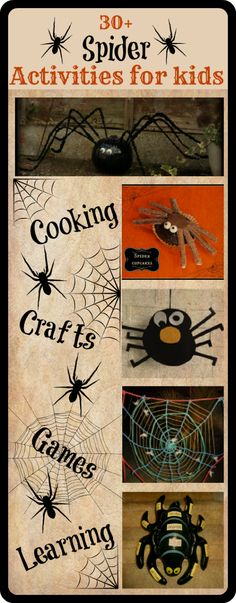 Maybe a spider unit for halloween time! 30+ Spider activities for kids    Cooking, crafts games and learning.   Perfect for Halloween!