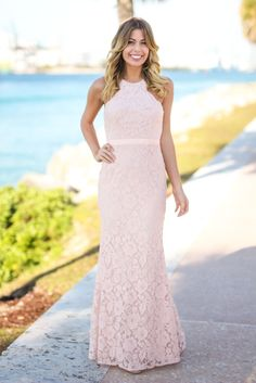 NOW IN BLUSH! This has gotta be one of our fave maxi dresses of all time! The fit is simply amazing and the scalloped neckline is gorgeous. This new Blush Lace Maxi Dress with Criss Cross Back fits li