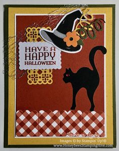 Honeybee's Stamping Hive: September 2020 Paper Pumpkin Alternate: Cat on a Fence Fall Pumpkins, Halloween Pumpkins, Halloween Cards, Halloween Fun, Fall Cards, Christmas Cards, Stampin Up Paper Pumpkin, Pumpkin Cards, Stamping Up