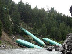Three Boeing 737 fuselages down embankment after train derailment, July 2014