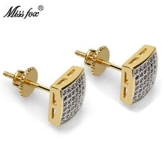 MISSFOX Hip-Hop Gold Plated Ear Studs Thread Cubic Zirconia Diamond Luxury Jewelry Earrings Piercing Earring Man Gifts Outfit Accessories From Touchy Style. Mens Diamond Stud Earrings, Black Stud Earrings, Square Earrings, Simple Earrings, Sterling Silver Earrings Studs, Diamond Studs, Women's Earrings, Clean Gold Jewelry, Black Gold Jewelry
