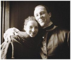 BTS still of Caitriona Balfe and Tobias Menzies.
