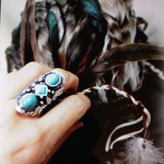 Turkish Silver Craved Turquoise Ring Adjustable