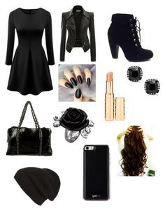 """""""black"""" by skyler-fay ❤ liked on Polyvore featuring Bamboo, Chanel, Gooey and Phase 3"""