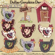 Rise and Shine 2 Clip Art Set, by Trina Clark - $1.00 at www.DollarGraphicsDepot.com - Great for printable crafts, scrapbook pages, iron-on transfers, embroidery patterns, recipe cards, and much more!