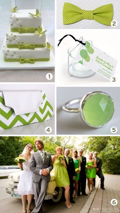 Lime green wedding inspiration board