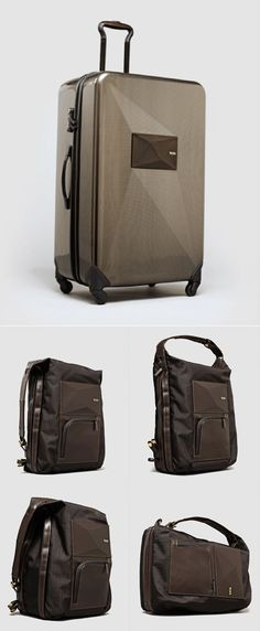 """Dror Designs Luggage That Can """"Transform"""" for Tumi.     The collection took 18 months of research and dev, with Dror drawing from his own personal travel experiences to inform the design.    See more:  http://www.core77.com/blog/object_culture/dror_designs_awesome_transforming_luggage_for_tumi_22217.asp"""