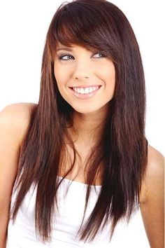 In summer season, side bangs hairstyles are very popular. We are sharing Celebrity Side Bangs Hairstyles 2018 images pictures photos Side Bangs With Long Hair, Layered Haircuts With Bangs, Oval Face Haircuts, Side Bangs Hairstyles, Haircuts For Long Hair, Long Hair Cuts, Cool Hairstyles, Long Hair Styles, Straight Hairstyles