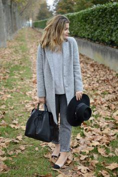 Look avec le manteau BAZMA gris