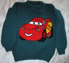 And here is Lightning Mcqueen! Knitting Patterns Boys, Baby Boy Knitting, Knitting Charts, Baby Sewing, Knitted Christmas Stockings, Christmas Knitting, Lightening Mcqueen, Intarsia Knitting, Little People