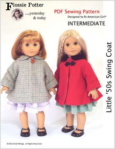 Flossie Potter Little '50s Swing Coat Doll Clothes Pattern 18 inch American Girl Dolls | Pixie Faire