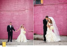 KC Wedding Photographer Wedding Photographer Kansas City Baltimore Club Wedding Downtown Wedding Bride & Groom Lazaro Wedding Dress Pink Wall
