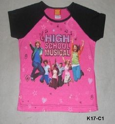 High School Musical Sz 12 14 Black and Pink Tee Shirt