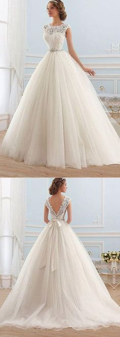 Junoesque Tulle Bateau Neckline Ball Gown Wedding Dress,347