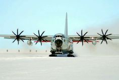 A ski-equipped LC-130 Hercules cargo aircraft from the New York Air National Guard's 109th Airlift Wing takes off Feb. 2, 2011, during an Operation Deep Freeze mission in Antarctica.
