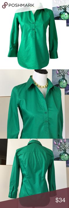 "Theory Charme Career Shirt Blouse Sz S Theory 100% cotton green career shirt. Semi-fitted silhouette, 3/4 sleeves. Measurements laying flat: Chest 18"" Shoulders 15"" Sleeves 19.5"" Back length 24"" EUC. From smoke-free home. Theory Tops Blouses"