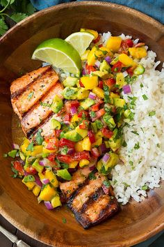 Grilled salmon with mango salsa & coconut rice - fine cooking - grilled lime . - Grilled salmon with mango salsa & coconut rice – Cooking classy – Grilled lime salmon with avoc - Healthy Meal Prep, Healthy Dinner Recipes, Healthy Snacks, Cooking Recipes, Simple Recipes, Cooking Chef, Breakfast Healthy, Rice Recipes, Recipies