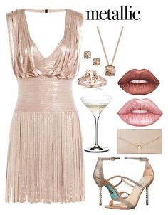 """""""Metallic Dress - contest"""" by lyfematerial ❤ liked on Polyvore featuring Hervé Léger, Lime Crime, Givenchy, Bliss Diamond, Riedel, Accessorize and Betsey Johnson"""