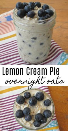 Lemon Cream Pie Overnight Oats- a healthy breakfast recipe topped with blueberries. | Chicago Jogger