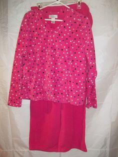 Intimate Essentials Women's 2pc Pajama Set Fleece Pink Polka Dots Size XL #IntimateEssentials #PajamaSets
