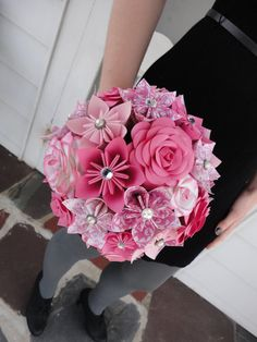 Grande carta rosa fiore Bouquet da sposa matrimonio - Kusudama Origami carta Rose rosa