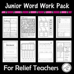 Junior Word Work Pack – For Relief Teachers Spelling Words, Sight Words, Word Study, Word Work, School Resources, Teaching Resources, Relief Teacher, Sight Word Activities, Substitute Teacher