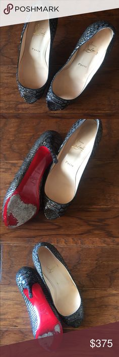 Christian Louboutin Python Peep Toe Heels Authentic Christian Louboutin Python Peep Toe heels in really good condition. Size 39. 3 inch heel. Wear on red bottoms. Sorry does not include dust bag or box. Right heel has a pad added to the back that can easily be removed. Christian Louboutin Shoes Heels