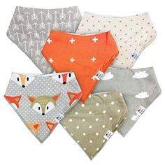 Munchkins  Milestones Set of 6 Unisex Baby Bandana Bibs 100 Organic Cotton Foxes Clouds Grey White  Orange Little Rascals Plus Set ** Check out this great product.