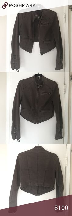 Free People Cropped Moto Jacket w/ Lace Up Sleeves Great cropped Moto jacket from Free People. Lace up sleeves. Beautiful seams. Have been worn but is in great condition. Faded green color. True to size. No trades. Free People Jackets & Coats Utility Jackets
