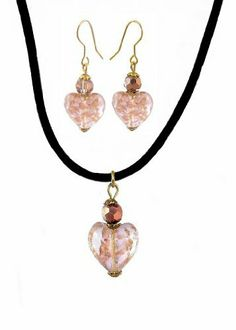 """Necklace & Earring Set - N485 - Murano Style Glass Heart with Copper Flecks Hung on 16"""" Black Velvet / Flock Cord with 2"""" Extension Chain and Matching Earrings ~ Peach, Clear and Copper Serenity Crystals, Inc.. $12.95. Save 50%!"""