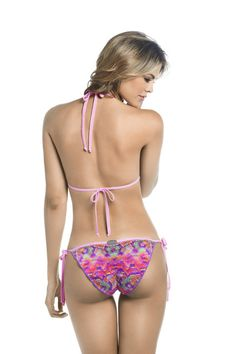 Mar De Rosas - There is no padding in the bust. This bikini top is so light and airy it feels like you have nothing on. The matching bikini bottoms are constructed out of the same soft knit fabric. A row of braided pop-poms are stitched along the bikini for an enticingly flirty look. These string tie bottoms are perfect for customizing your fit. #designerswimwear