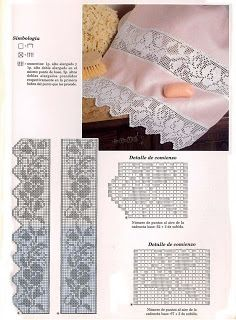File e trina a uncinetto con schema Filet Crochet Charts, Crochet Borders, Crochet Flower Patterns, Crochet Diagram, Afghan Crochet Patterns, Crochet Designs, Annie's Crochet, Fillet Crochet, Thread Crochet