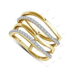 14K Yellow Gold Over 925 Silver Round Simulated Diamond Ladies New Fashion Ring  #affordableBridaljewelry #FashionRing