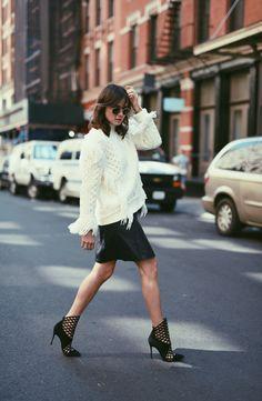 Lena Lademann, Coach Pullover, Filippa K, skirt, leather, Christian Louboutin boots, blogger bazaar, new York, fashion week
